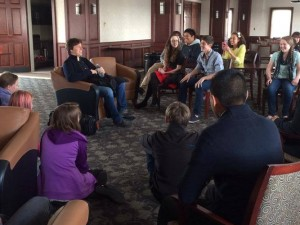 Joshua Bell speaks with young musicians at the Stevens Center