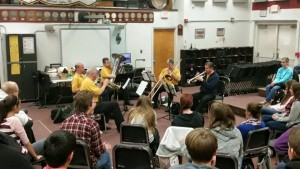 The WSS Brass Quintet plays for students