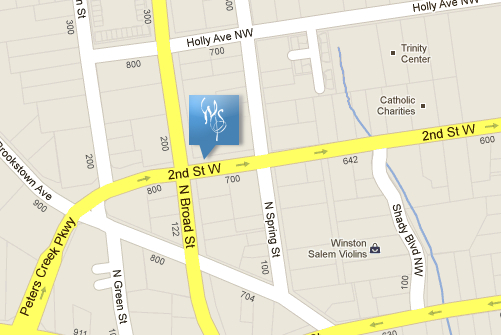 Map of Symphony Offices at 201 N. Broad St, Winston-Salem