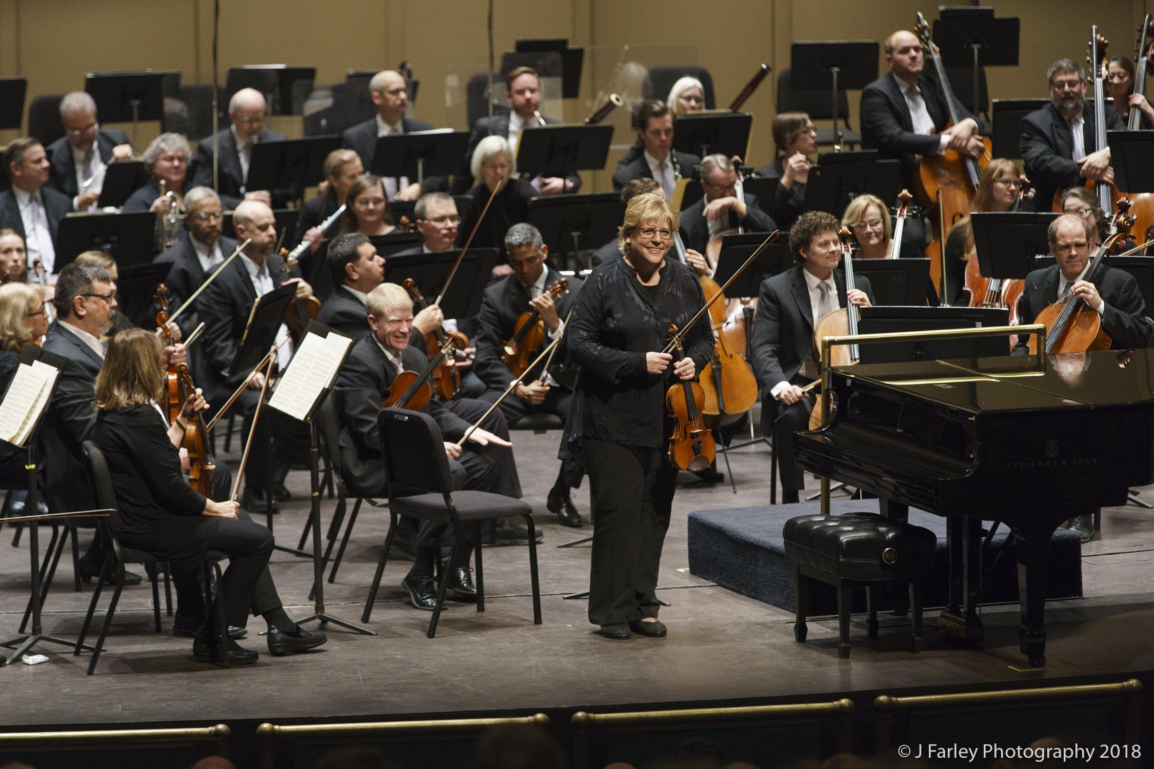Concertmaster Corine Brouwer and the Winston-Salem Symphony