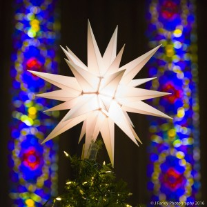 A Moravian star adorns the top of this tree on the Centenary altar. It is a symbol of our local heritage as a Moravian settlement established 250 years ago.