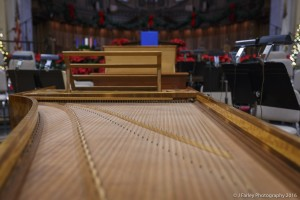 A view from the harpsichord strings.